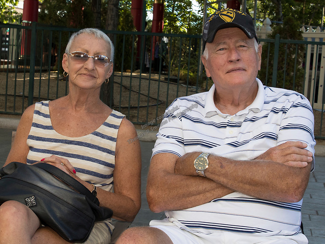 Wanda and Richard Bellamy from Missouri during the Hot August Nights Parade in downtown Reno on Sunday, August 13, 2017.