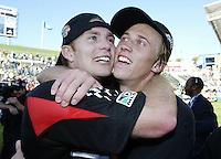 14 November 2004: Bryan Namoff celebrates with Troy Perkins after DC United defeated Kansas City Wizards, 3-2 at Home Depot Center in Carson, California...Mandatory Credit: Michael Pimentel / www.internationalsportsimages.com..