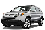 Low aggressive front three quarter view of a 2008 Honda CRV.