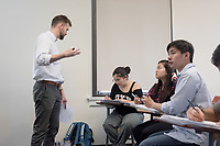 Department of Economics assistant professor Brandon Lehr teaches his class, Behavioral Economics (Econ 340) in Fowler Hall 209 on March 29, 2017.<br /> (Photo by Marc Campos, Occidental College Photographer)