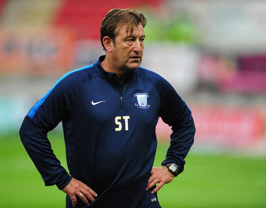 Preston North End&rsquo;s first team coach Steve Thompson during the pre-match warm-up <br /> <br /> Photographer Chris Vaughan/CameraSport<br /> <br /> Football - The Football League Sky Bet Championship - Rotherham United v Preston North End - Tuesday 18th August 2015 - New York Stadium - Rotherham<br /> <br /> &copy; CameraSport - 43 Linden Ave. Countesthorpe. Leicester. England. LE8 5PG - Tel: +44 (0) 116 277 4147 - admin@camerasport.com - www.camerasport.com