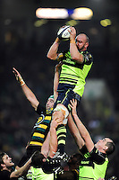 Hayden Triggs of Leinster Rugby wins the ball at a lineout. European Rugby Champions Cup match, between Northampton Saints and Leinster Rugby on December 9, 2016 at Franklin's Gardens in Northampton, England. Photo by: Patrick Khachfe / JMP