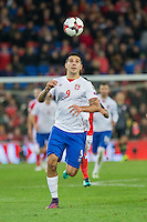 Aleksandar Mitrovic of Serbia during the FIFA World Cup Qualifying match between Wales and Serbia at the Cardiff City Stadium, Cardiff, Wales on 12 November 2016. Photo by Mark  Hawkins.