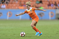 Houston, TX - Wednesday June 28, 2017: Camille Levin brings the ball up the field during a regular season National Women's Soccer League (NWSL) match between the Houston Dash and the Boston Breakers at BBVA Compass Stadium.