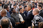 United States President Barack Obama greets students during a visit to Benjamin Banneker Academic High School to speak about the progress that has been made by his administration over the last eight years to improve education across the country on October 17, 2016 in Washington, DC. <br /> Credit: Olivier Douliery / Pool via CNP