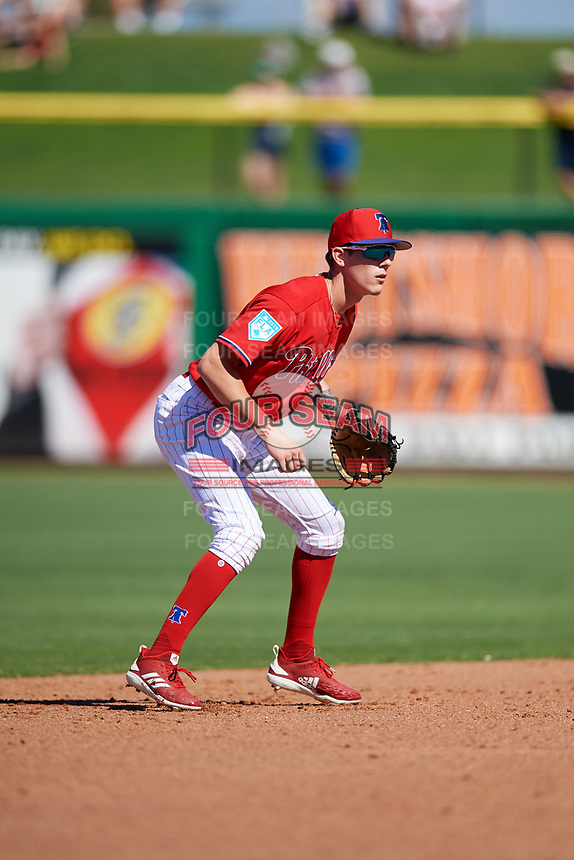 Philadelphia Phillies shortstop Nick Maton (88) during a Grapefruit League Spring Training game against the Baltimore Orioles on February 28, 2019 at Spectrum Field in Clearwater, Florida.  Orioles tied the Phillies 5-5.  (Mike Janes/Four Seam Images)