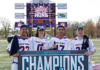 Ron John (#33), Davis Diamond (#0), Jakob Patterson (#17), and Sean Eccles (#38) celebrate the victory as UAlbany Lacrosse defeats Vermont 14-4  in the American East Conference Championship game at Casey Stadium, May 5.