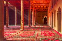 Sun beams shine in a Muslum Mosque near Turpan, China.