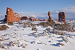 Balanced Rock in Arches National Park near Moab, Utah, USA after a snow storm.