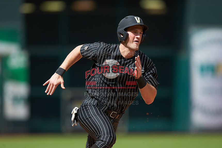 Julian Infante (22) of the Vanderbilt Commodores hustles towards home plate against the Sam Houston State Bearkats in game one of the 2018 Shriners Hospitals for Children College Classic at Minute Maid Park on March 2, 2018 in Houston, Texas. The Bearkats walked-off the Commodores 7-6 in 10 innings.   (Brian Westerholt/Four Seam Images)