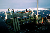 Life boat on MS Vistafjord cruise ship in the Artic at the ice barrier.  circa 1976