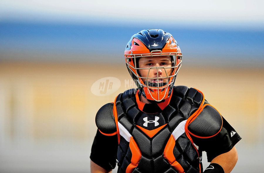 Mar. 15, 2010; Surprise, AZ, USA; San Francisco Giants catcher Buster Posey against the Texas Rangers during a spring training game at Surprise Stadium. Mandatory Credit: Mark J. Rebilas-