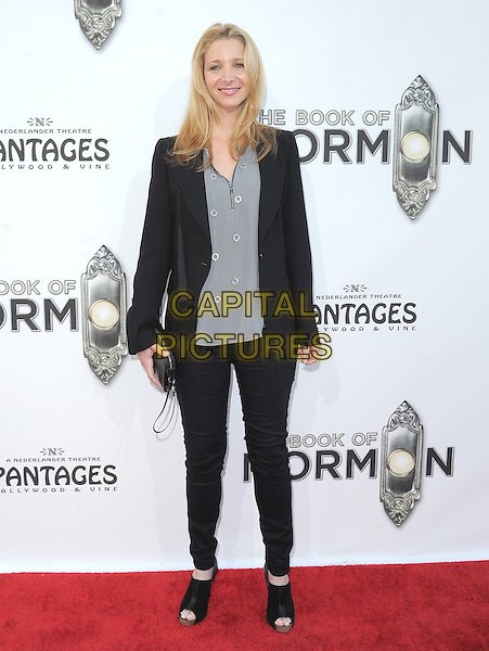 "Lisa Kudrow.""The Book of Mormon"" Hollywood Opening night Held At The Pantages theatre, Hollywood, California, USA..September 12th, 2012.full length top blazer trousers suit clutch bag grey gray black open toe boots .CAP/DVS.©DVS/Capital Pictures."
