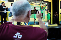 Peter Sagan's dad filming his son's green jersey podium ceremony. <br /> <br /> Stage 5: Saint-Dié-des-Vosges to Colmar (175km)<br /> 106th Tour de France 2019 (2.UWT)<br /> <br /> ©kramon