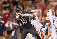 Hawgs Illustrated/BEN GOFF <br /> Jamel Dean, Auburn cornerback, breaks up a pass intended for Jordan Jones (10), Arkansas wide receiver, in the first quarter Saturday, Oct. 21, 2017, at Reynolds Razorbacks Stadium in Fayetteville.