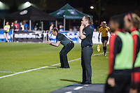 Kansas City, Mo. - Saturday April 23, 2016: FC Kansas City head coach Vlatko Andonovski yells from the sideline during a match against Portland Thorns FC at Swope Soccer Village. The match ended in a 1-1 draw.