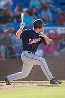 Beau Mills (27) of the Kinston Indians follows through on his swing versus the Winston-Salem Warthogs at Ernie Shore Field in Winston-Salem, NC, Saturday, May 17, 2008.
