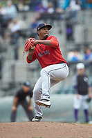 Salem Red Sox relief pitcher Algenis Martinez (45) in action against the Winston-Salem Dash at BB&T Ballpark on April 22, 2018 in Winston-Salem, North Carolina.  The Red Sox defeated the Dash 6-4 in 10 innings.  (Brian Westerholt/Four Seam Images)