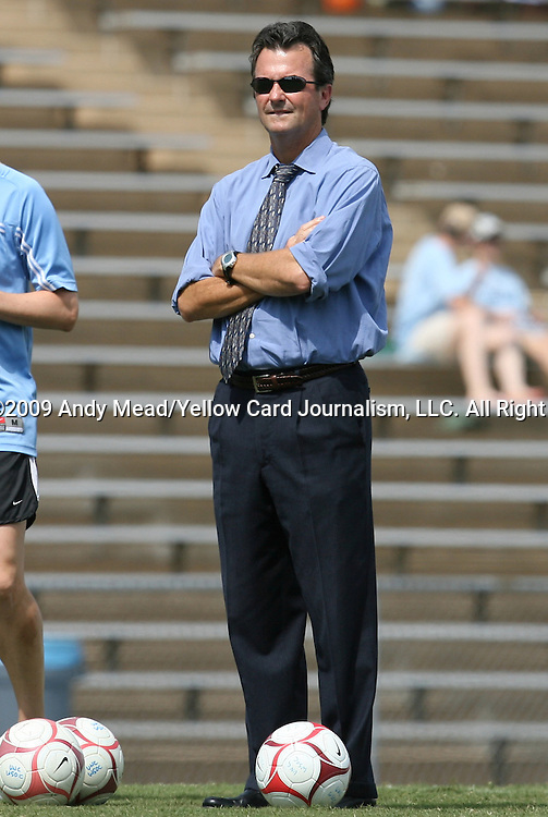 30 August 2009: UNC head coach Anson Dorrance. The University of North Carolina Tar Heels defeated the University of North Carolina Greensboro Spartans 1-0 at Fetzer Field in Chapel Hill, North Carolina in an NCAA Division I Women's college soccer game.