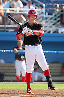 Batavia Muckdogs outfielder Jon Edwards (44) during the first game of a double header vs. the Connecticut Tigers at Dwyer Stadium in Batavia, New York July 10, 2010.   Batavia defeated Connecticut 5-3.  Photo By Mike Janes/Four Seam Images
