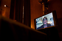 """Christina Paxson, president of Brown University, testifies through teleconference during the US Senate Health, Education, Labor, and Pensions Committee during a hearing titled """"COVID-19: Going Back to School Safely"""" on Capitol Hill in Washington, DC on Thursday, June 4, 2020.<br /> Credit: Ting Shen / CNP/AdMedia"""