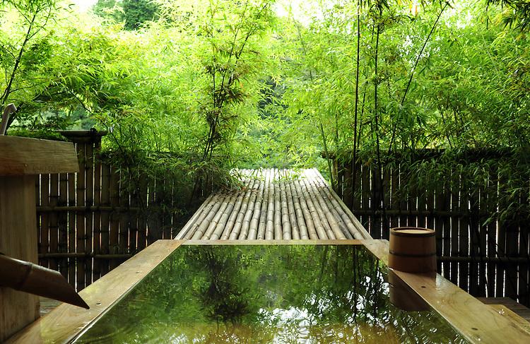Wooden bathtub at Higuchi Ryokan in Arifuku Onsen. Shimane. Japan.