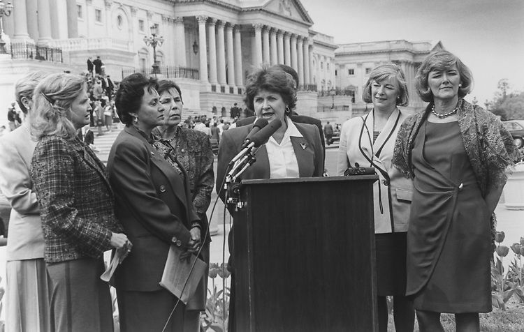 Rep. Louise Slaughter, D-N.Y., at a press conference of Female House Members prior to their marching over to Senate floor to protest Admiral Frank Kelso, being allowed to retire at the 4 star rank in light of his involvement in Tailhook, on April 19, 1994. (Photo by Maureen Keating/CQ Roll Call via Getty Images)
