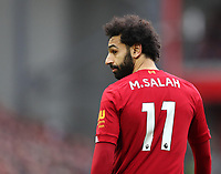 7th March 2020; Anfield, Liverpool, Merseyside, England; English Premier League Football, Liverpool versus AFC Bournemouth; Mohammed Salah of Liverpool looks over his shoulder
