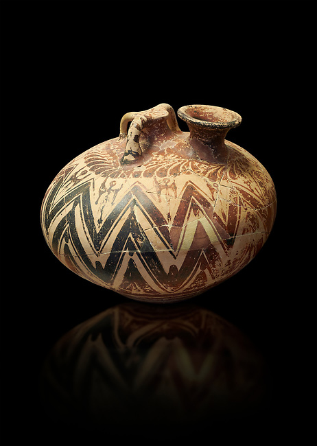Mycenaean three handled styrrup jar with painted zig zag  and double axesdesigns, Tholos tomb 2 , Myrsinochori, Messenia, 15th cent BC. National Archaeological Museum Athens. Cat No 8376.