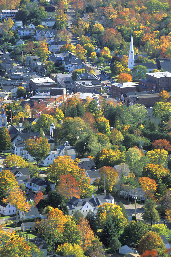 Aerial view of Camden and fall colors, Camden, Maine