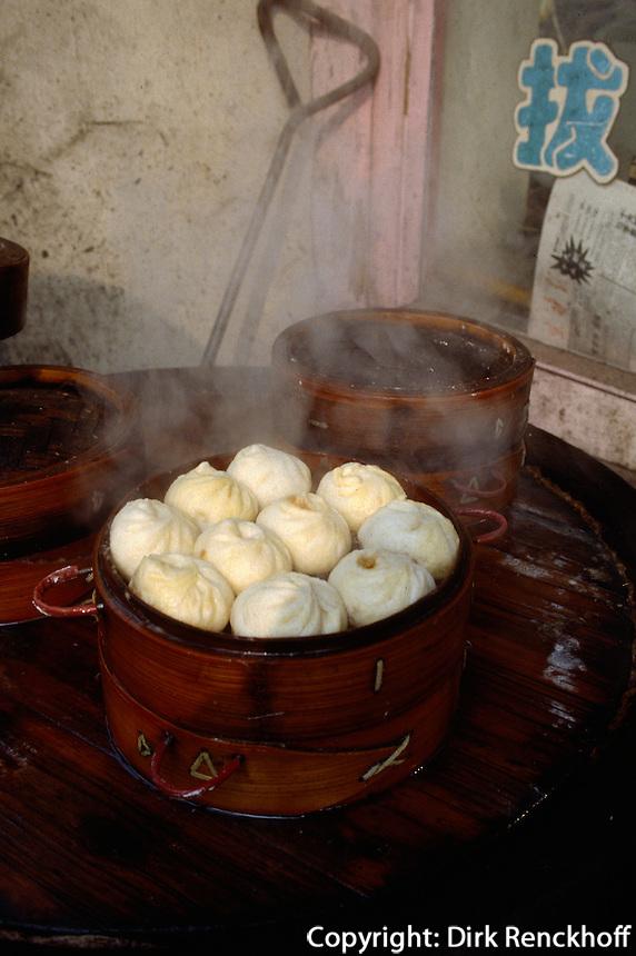 China, Peking, im Niu Jie-Viertel, Verkauf von Bao Zi (Teigtaschen)