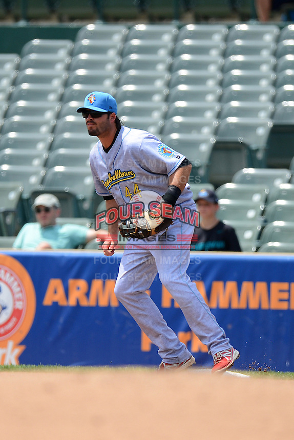 Reading Fightin Phils first baseman Jim Murphy #44 during a game against the Trenton Thunder on July 8, 2013 at Arm & Hammer Park in Trenton, New Jersey.  Trenton defeated Reading 10-6.  (Mike Janes/Four Seam Images)