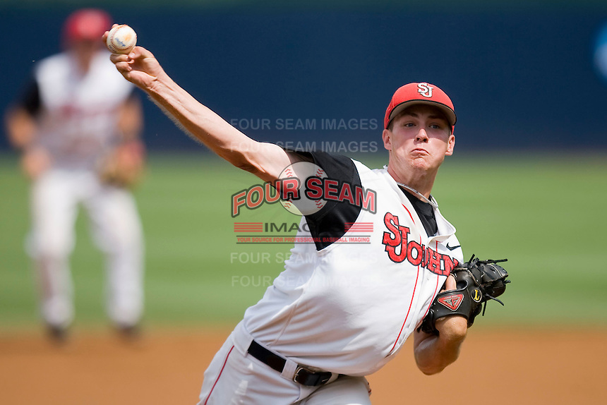 Daniel Burawa #38 of the St. John's Red Storm closes out the win against the Virginia Commonwealth Rams at the Charlottesville Regional of the 2010 College World Series at Davenport Field on June 5, 2010, in Charlottesville, Virginia.  The Red Storm defeated the Rams 8-6.  Photo by Brian Westerholt / Four Seam Images