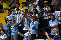 BOGOTA-COLOMBIA, 06-03-2020: Aficionados de Argentina animan a sus jugadores, durante partidos de los enfrentamientos para Las clasificatorias Copa Davis by Rakuten 2020 entre Colombia y Argentina en el Palacio de los Deportes en la ciudad de Bogota. / Fans of Argentina cheer for their players during matches of the clashes for the Davis Cup by Rakuten 2020 qualifiers between Colombia and Argentina at the Palacio de los Deportes in Bogota city. / Photo: VizzorImage / Luis Ramirez / Staff.