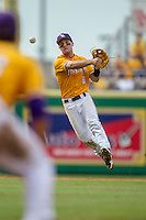 LSU Tigers shortstop Alex Bregman (8) makes a throw to first base during the Southeastern Conference baseball game against the Texas A&M Aggies on April 25, 2015 at Alex Box Stadium in Baton Rouge, Louisiana. Texas A&M defeated LSU 6-2. (Andrew Woolley/Four Seam Images)