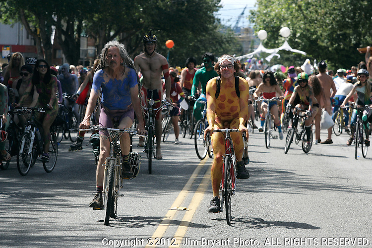Painted nude bicyclists  ride during the 25th  Annual Fremont Summer Solstice Parade in Seattle on June 21, 2009.     UPI Photo/Jim BryantPainted nude bicyclists  ride during the 25th  Annual Fremont Summer Solstice Parade in Seattle on June 22, 2013.     ©2013.  Jim Bryant.  ALL RIGHTS RESERVED.