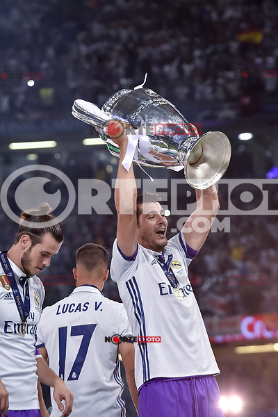 Alvaro Morata of Real Madrid lifts the Champions League Trophy during the UEFA Champions League Final match between Real Madrid and Juventus at the National Stadium of Wales, Cardiff, Wales on 3 June 2017. Photo by Giuseppe Maffia.<br /> <br /> Giuseppe Maffia/UK Sports Pics Ltd/Alterphotos /nortephoto.com