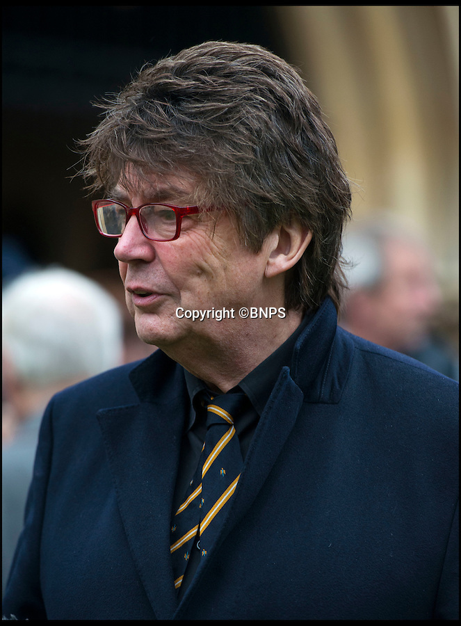 BNPS.co.uk (01202 558833)<br /> Pic: TomWren/BNPS<br /> <br /> Former radio 1 DJ Mike Reid attends the funeral of Ed Stewart at St Peter's Church, Bournemouth. <br /> <br /> Famous faces of radio and TV from yesteryear led tributes today as former Radio 1 DJ Ed 'Stewpot' Stewart signed off for the final time.<br /> <br /> Among the well-known names who filled the church in Bournemouth, Dorset to say their last goodbyes to the DJ and Crackerjack presenter were fellow former DJ Mike Read, Carry On actress Anita Harris, comedian Bobby Davro and TV personality John Virgo.