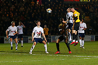 Padraig Amond of Newport County scores his sides first goal of the match during the Fly Emirates FA Cup Fourth Round match between Newport County and Tottenham Hotspur at Rodney Parade, Newport, Wales, UK. Saturday 27 January 2018