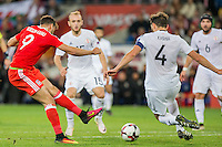 Hal Robson-Kanu of Wales shoots at goal during the FIFA World Cup Qualifier match between Wales and Georgia at the Cardiff City Stadium, Cardiff, Wales on 9 October 2016. Photo by Mark  Hawkins / PRiME Media Images.