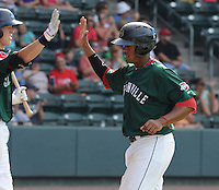 Right fielder Henry Ramos (51) of the Greenville Drive is congratulated after scoring a run in a game against the Lexington Legends on July 22, 2012, at Fluor Field at the West End in Greenville, South Carolina. (Tom Priddy/Four Seam Images)