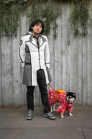 Asian Man & His Dog with Red Kimono, Sakura Con, Seattle, WA, USA.