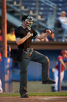 Umpire Louie Krupa during a game between the Brooklyn Cyclones and Batavia Muckdogs on July 5, 2016 at Dwyer Stadium in Batavia, New York.  Brooklyn defeated Batavia 5-1.  (Mike Janes/Four Seam Images)