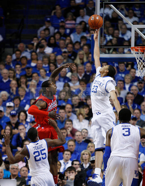 Anthony Davis block a shot during the second half of the game against the University of Mississippi Rebels, in  Rupp Arena, on Saturday, Feb. 18, 2012. Kentucky won 77-62. Photo by Latara Appleby | Staff ..