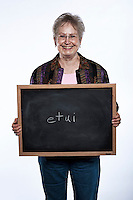 Lois Hansen (cq), from Cheyenne, Wyoming, at the AARP National Spelling Bee for people aged 50 years and older at the Little America Hotel in Cheyenne, Wyoming, Friday, June 17, 2011. Her word, etui, is a small, ornamental bag used for holding articles such as needles. Birthday: 19-Jan-47..Photo by Matt Nager