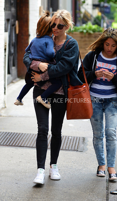 WWW.ACEPIXS.COM<br /> <br /> June 2 2015, New York City<br /> <br /> Actress Sienna Miller and daughter Marlowe Sturridge out and about in Manhattan on June 2 2015 in New York City.<br /> <br /> <br /> Please byline: Curtis Means/ACE Pictures<br /> <br /> ACE Pictures, Inc.<br /> www.acepixs.com, Email: info@acepixs.com<br /> Tel: 646 769 0430