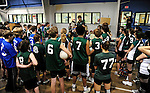 8 November 2009: VCS coach Peter Goff addresses the participants in the 2009 High School Volleyball State Championships hosted by Vermont Commons School at the Sports and Fitness Edge in South Burlington, Vermont. The Enosburg Falls Hornets successfully defended their boys' title while the VCS Flying Turtles rallied to maintain their girls' team crown. Mandatory Credit: Ed Wolfstein Photo