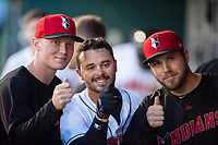 Indianapolis Indians second baseman Kevin Kramer (17) celebrates his first home run of the season with Mitch Keller (left) and Alex McRae (right) during an International League game against the Columbus Clippers on April 29, 2019 at Victory Field in Indianapolis, Indiana. Indianapolis defeated Columbus 5-3. (Zachary Lucy/Four Seam Images)