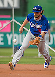 7 October 2016: Los Angeles Dodgers infielder Charlie Culberson warms up prior to the first game of the NLDS against the Washington Nationals at Nationals Park in Washington, DC. The Dodgers edged out the Nationals 4-3 to take the opening game of their best-of-five series. Mandatory Credit: Ed Wolfstein Photo *** RAW (NEF) Image File Available ***