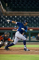 AZL Brewers first baseman Ernesto Wilson Martinez (56) follows through on his swing against the AZL Giants on August 15, 2017 at Scottsdale Stadium in Scottsdale, Arizona. AZL Giants defeated the AZL Brewers 4-3. (Zachary Lucy/Four Seam Images)